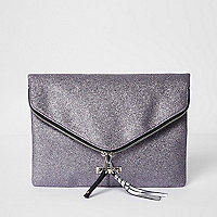 Purple glitter zip around envelope clutch