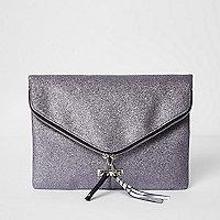 Pochette forme enveloppe violette pailletée zippée