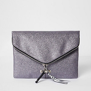Purple glitter zip envelope clutch bag