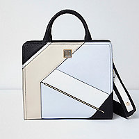 Black and blue boxy tote bag
