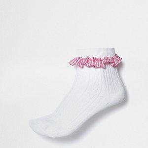 Chaussettes blanches avec volants à carreaux Vichy