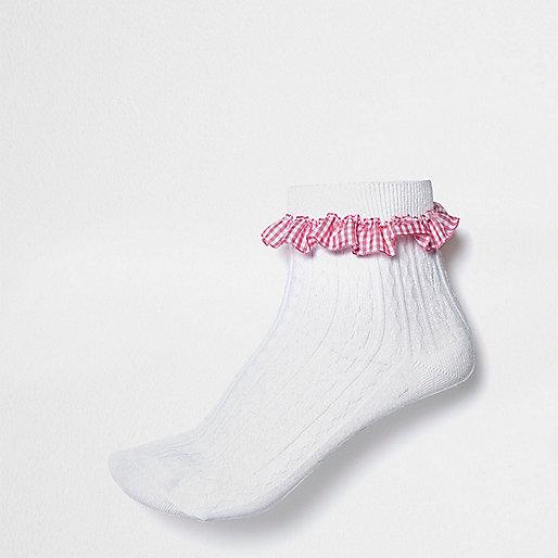 White gingham frill socks