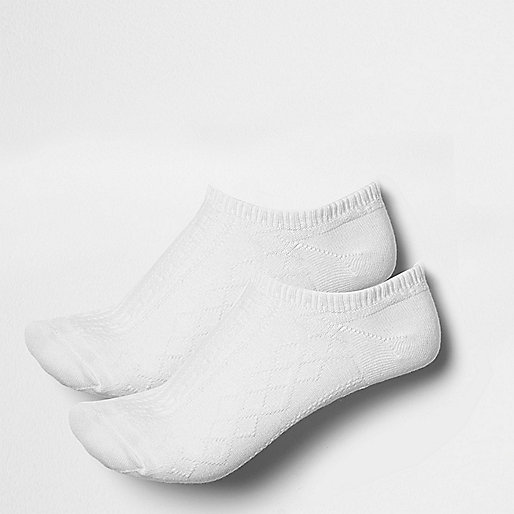 White cable knit trainer socks pack