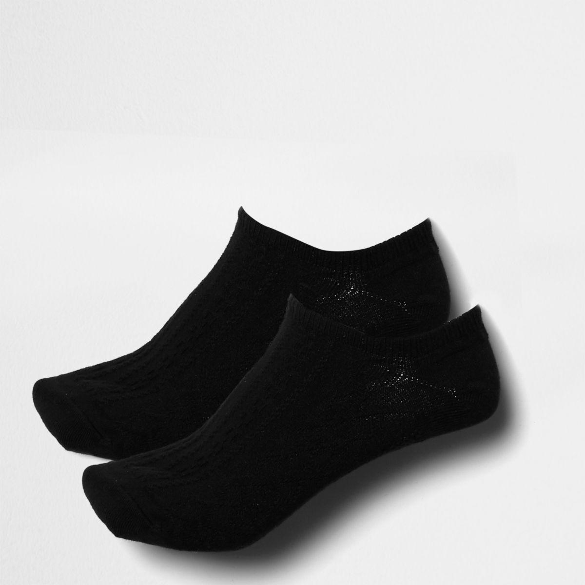 Schwarze Tennissocken mit Zopfmuster