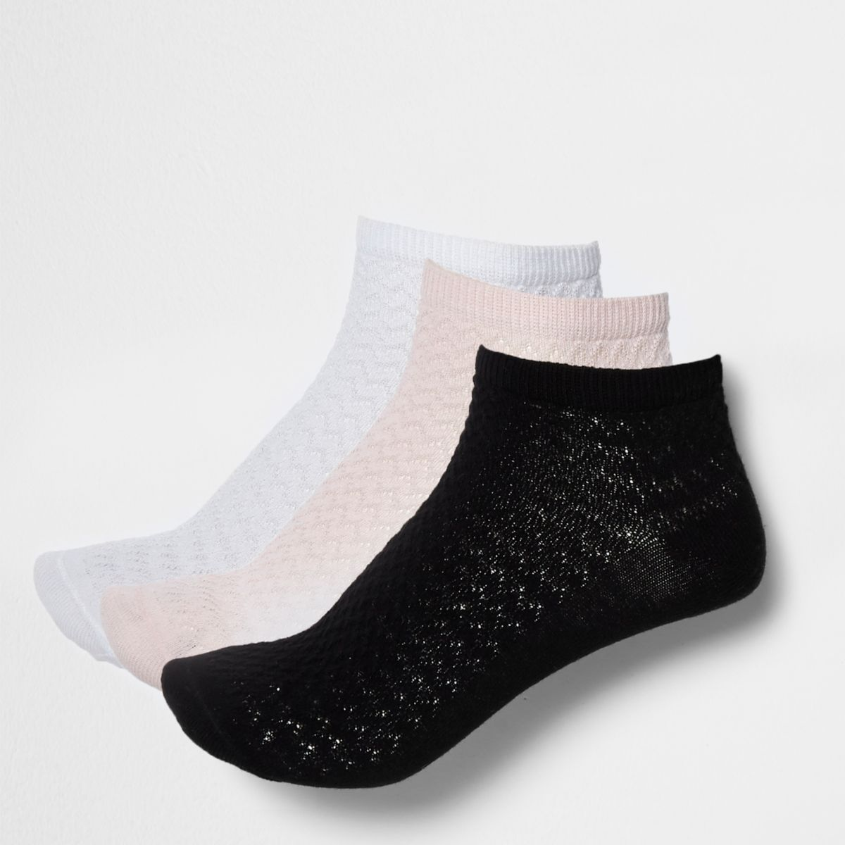 Pink, white and neutral trainer socks pack