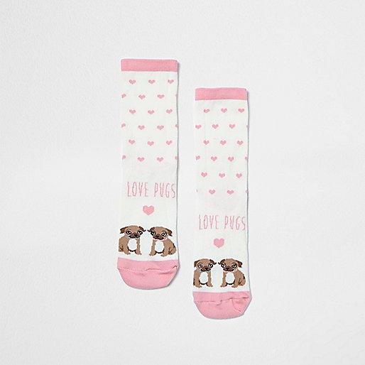 Pink love pugs print socks