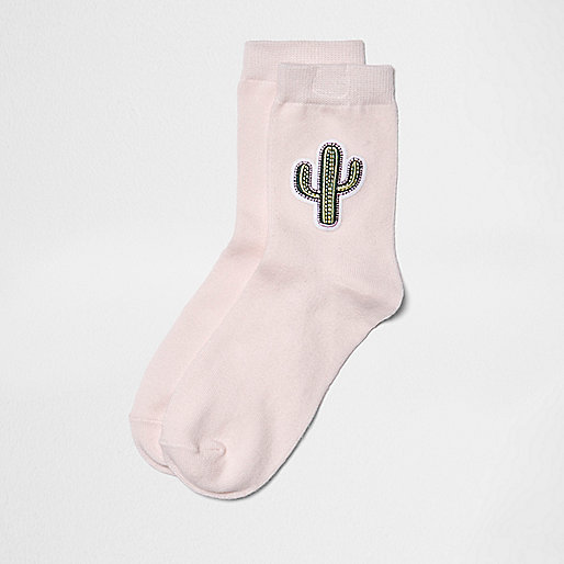 Pink cactus print socks