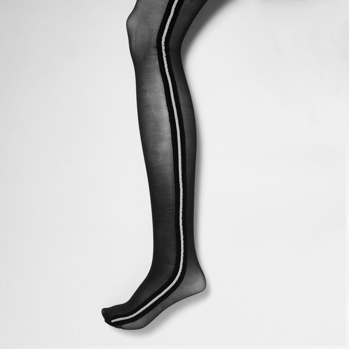 Schwarze Strumpfhose mit sportlichen Streifen