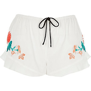 White floral embroidered frill pajama shorts