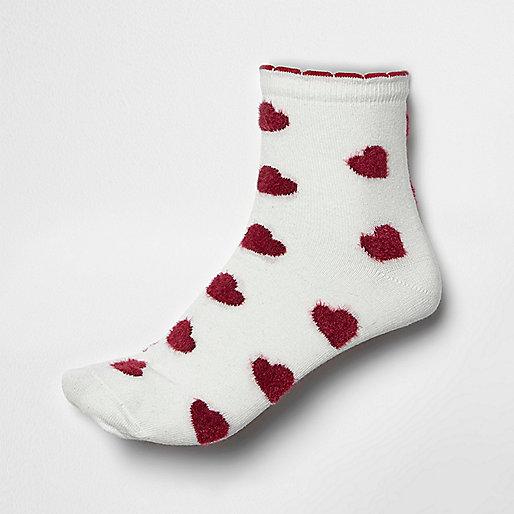 Red fluffy heart print socks