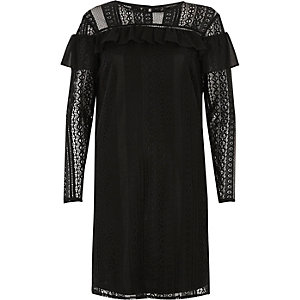 Black chiffon frill lace dress