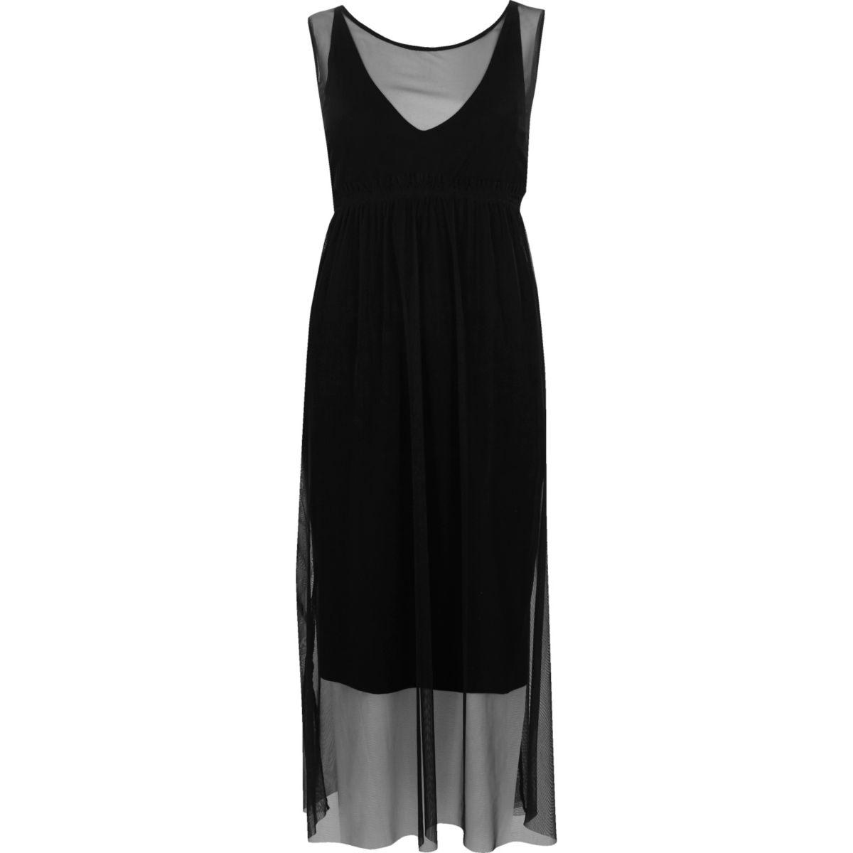 Black layered mesh dress