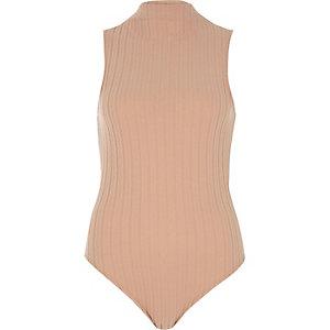 Nude zachte geribbelde bodysuit met col