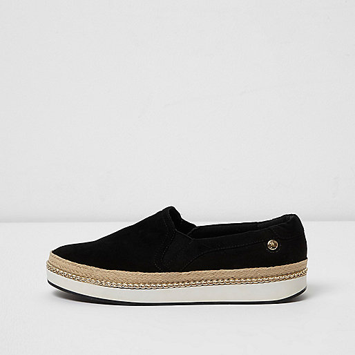 Black double layer espadrille plimsolls