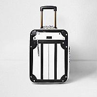 Valise de cabine à imprimé serpent blanche et noire