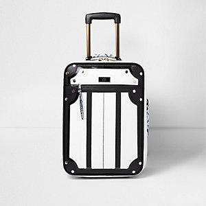 Zwart met witte koffer met slangenprint