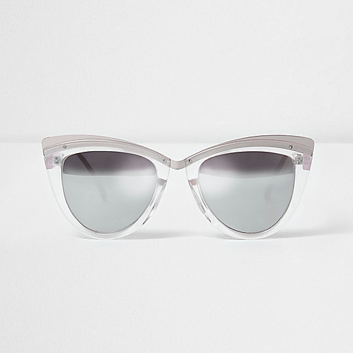 Silver tone cat eye mirror lens sunglasses