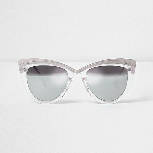 Silver tone cat eye mirror lens sunglasses
