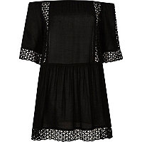 Black laser cut bardot beach dress