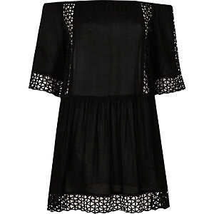 Black laser cut bardot cover up dress