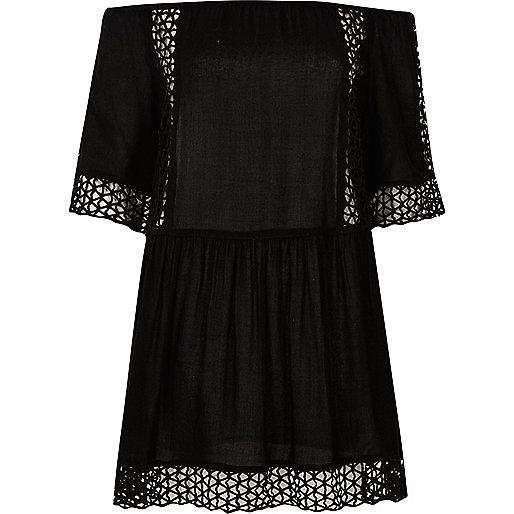 Black laser cut bardot beach dress