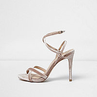 Nude strappy velvet heeled sandals