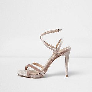 Nude strappy velvet heeled sandals