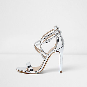 Silver metallic barely there strappy heels