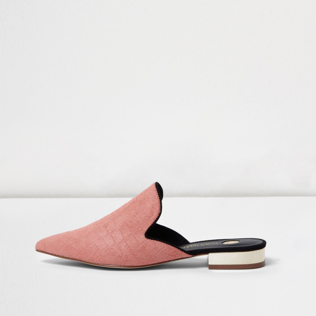 Pink pony hair slip on mules