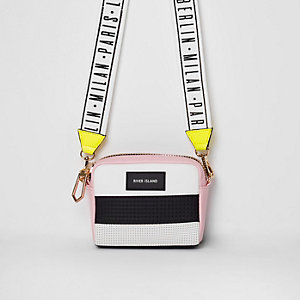 Black color block neoprene crossbody bag