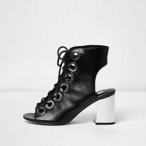 Black metallic heel lace up shoe boots