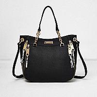 Black chain handle zip tote bag
