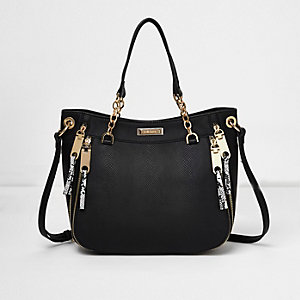 Black chain handle zip tote bag