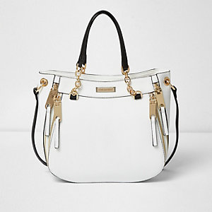White chain handle soft tote bag
