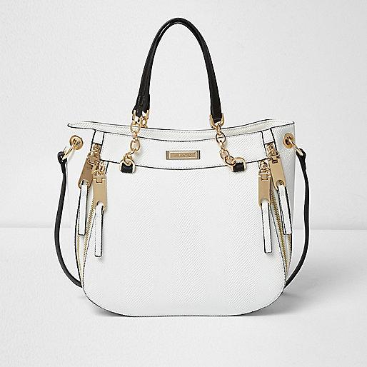 White chain handle soft tote bag
