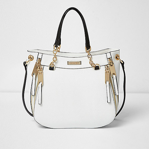 White chain handle zip tote bag