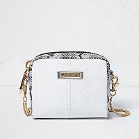 Mini sac blanc imprimé écailles avec chaîne