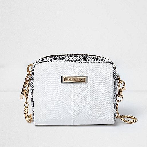 White scale effect mini chain bag