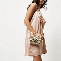 Mini sac à bandoulière doré à paillettes avec nœud