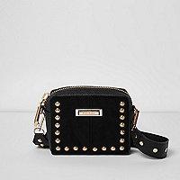 Mini sac à bandoulières noir clouté