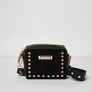 Black stud mini cross body bag