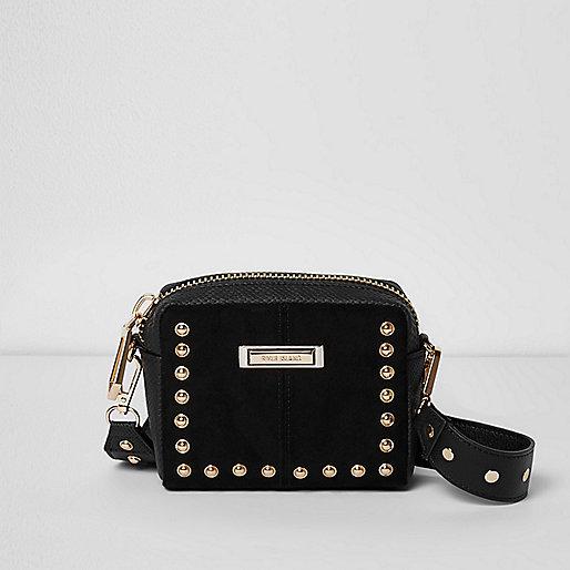 Black stud mini cross body bag