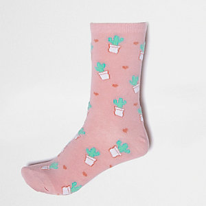 Pink cactus and heart print socks