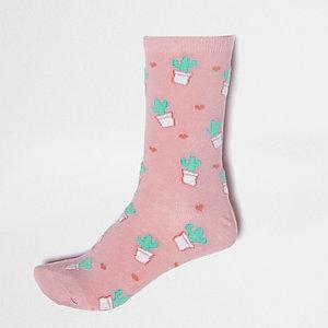 Chaussettes roses imprimé cœurs et cactus