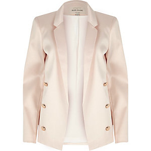 Light pink satin blazer