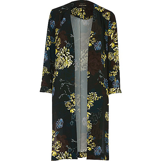 Forest green floral print duster jacket