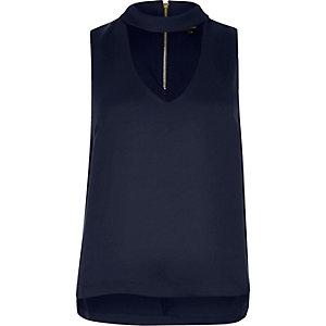 Navy blue satin choker top