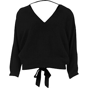Black tied back V-neck top