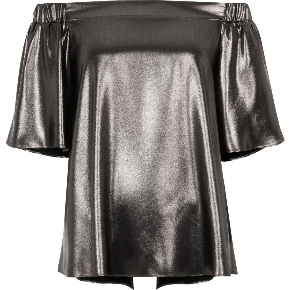 Silver metallic bardot top