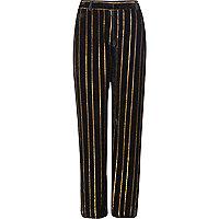 Black metallic stripe wide leg pants